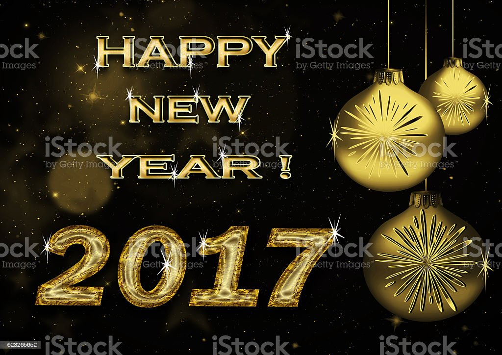 Merry Christmas and Happy New Year 2017 ! stock photo