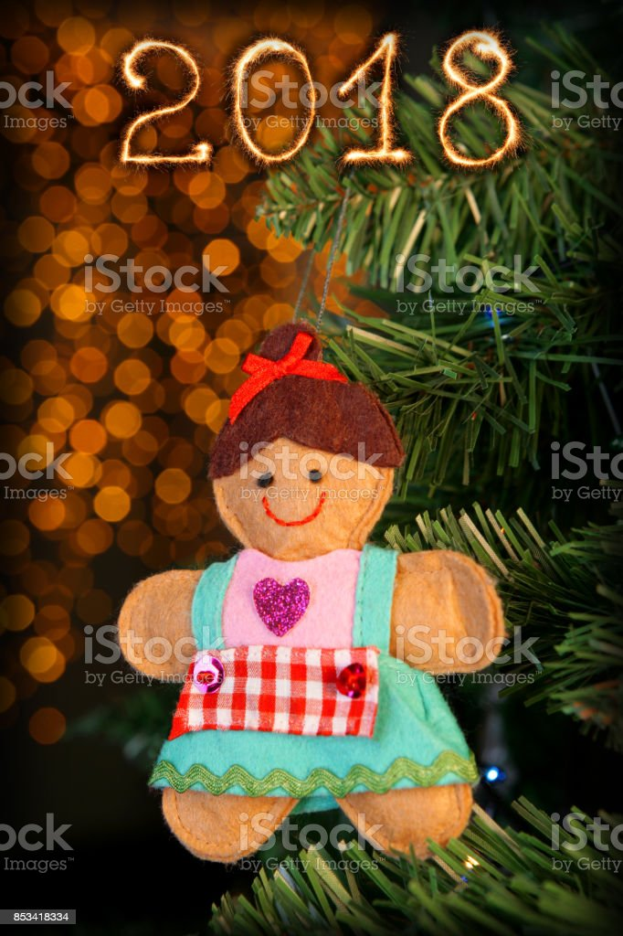 Merry Christmas and Happy New Year 2018 stock photo