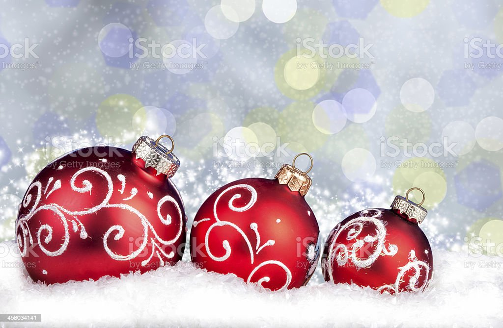 Merry Christmas and Happy New Year background with red balls royalty-free stock photo