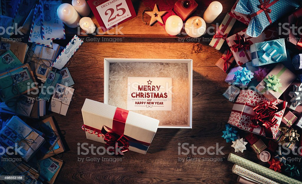 Merry Christmas and Happy New Year message stock photo