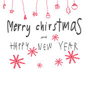 Merry Christmas and happy new year word illustration