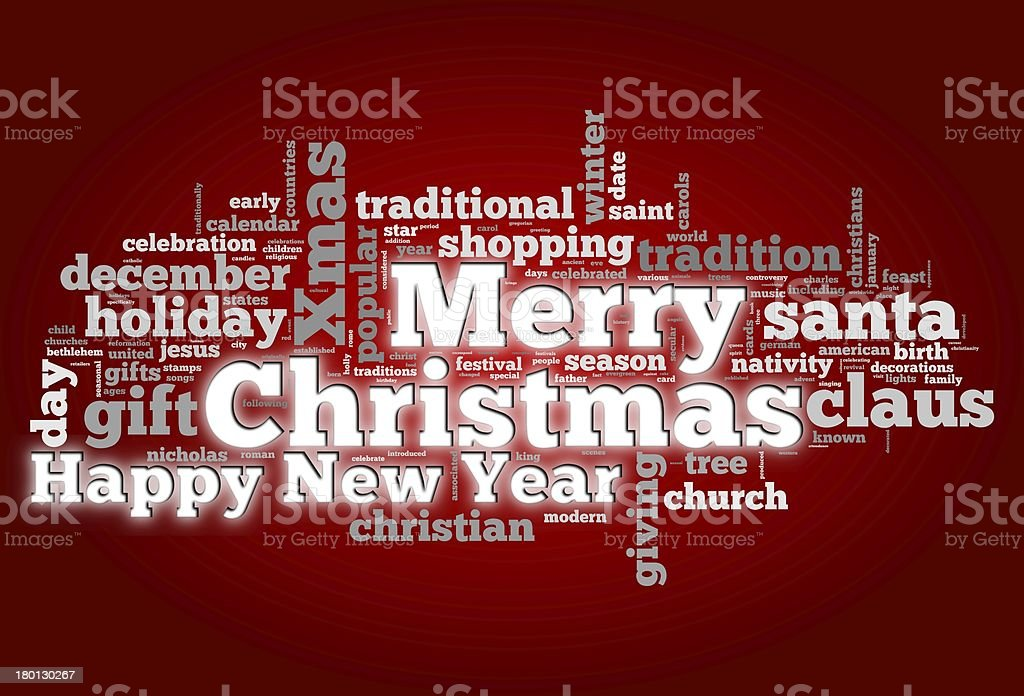 Merry Christmas card in tag cloud stock photo