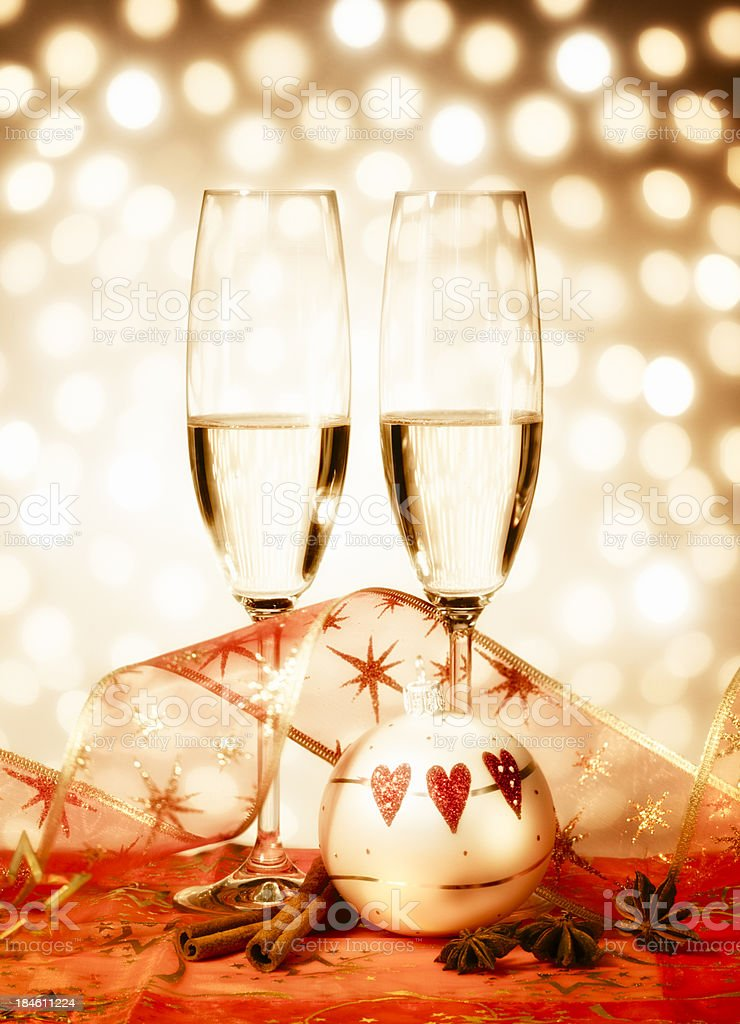 Merry Christmas Champagne glasses stock photo