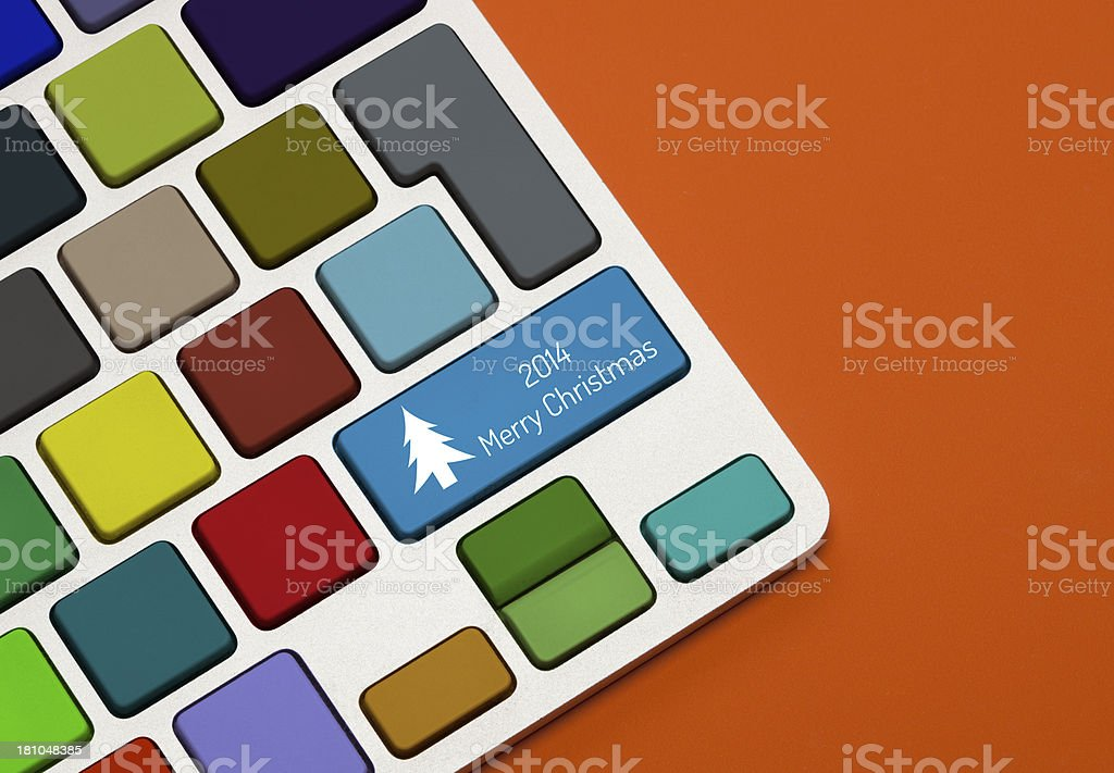 Merry Christmas Concept on Keyboard royalty-free stock photo