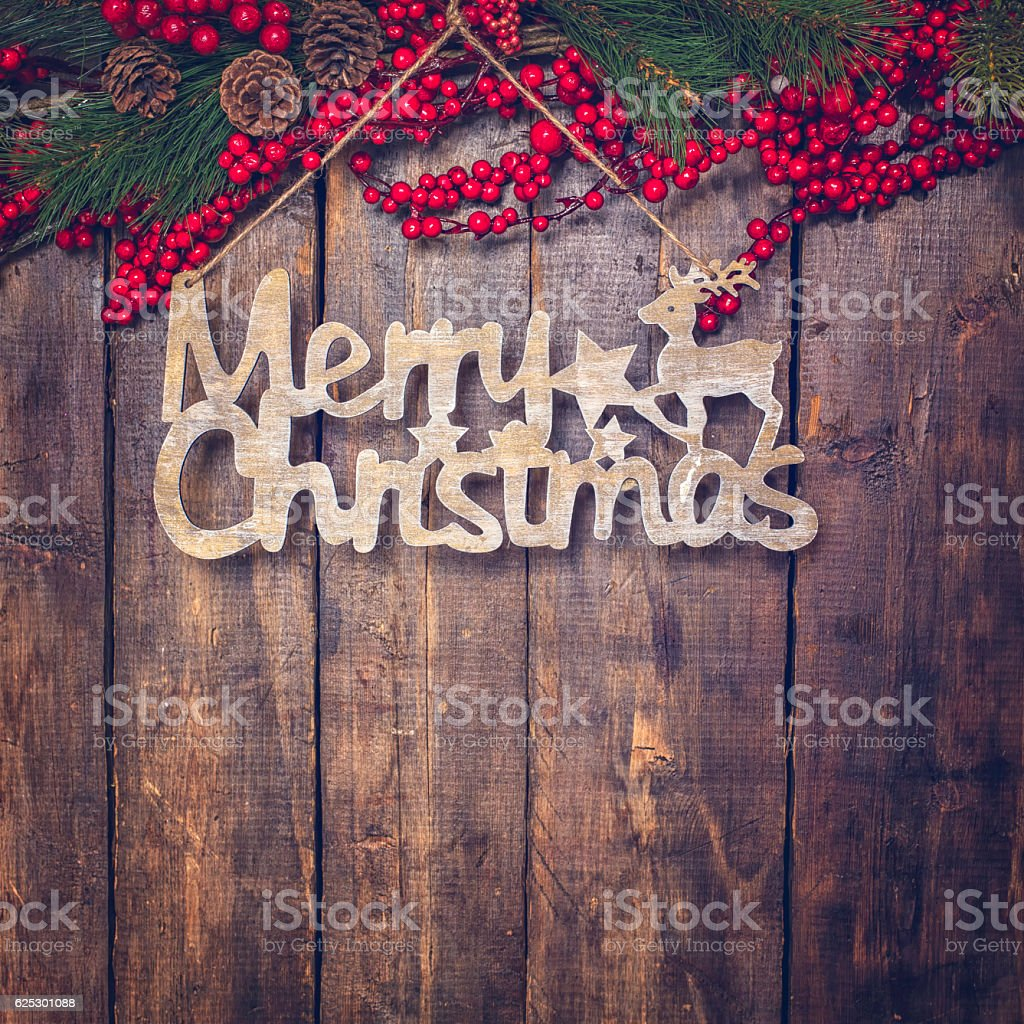 Merry Christmas Decoration with Ornaments on Wooden Background stock photo