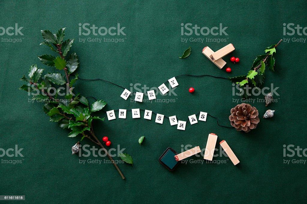 Merry Christmas Garland stock photo