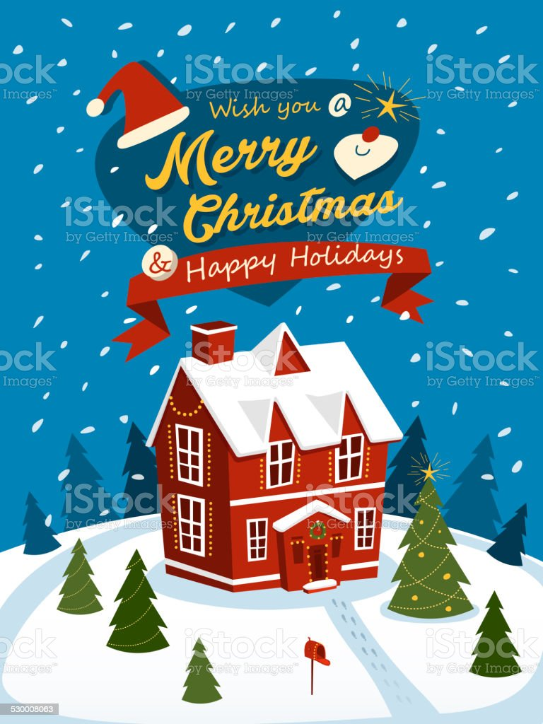 Merry Christmas greeting posters with red house stock photo