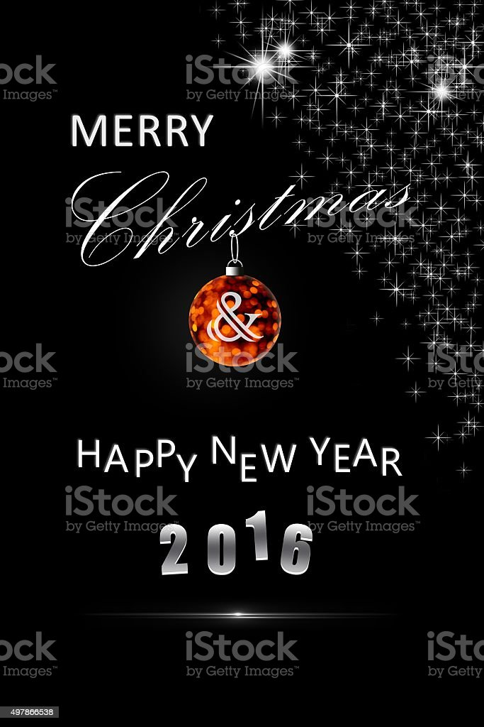 Merry christmas & happy new year card stock photo