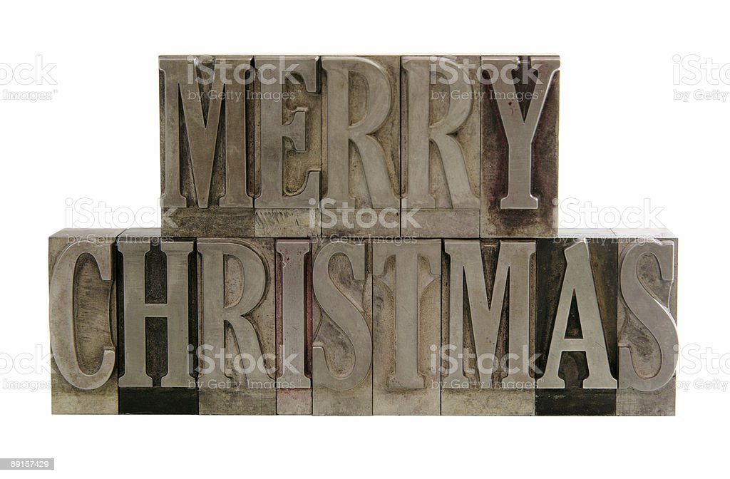 merry christmas in metal type royalty-free stock photo
