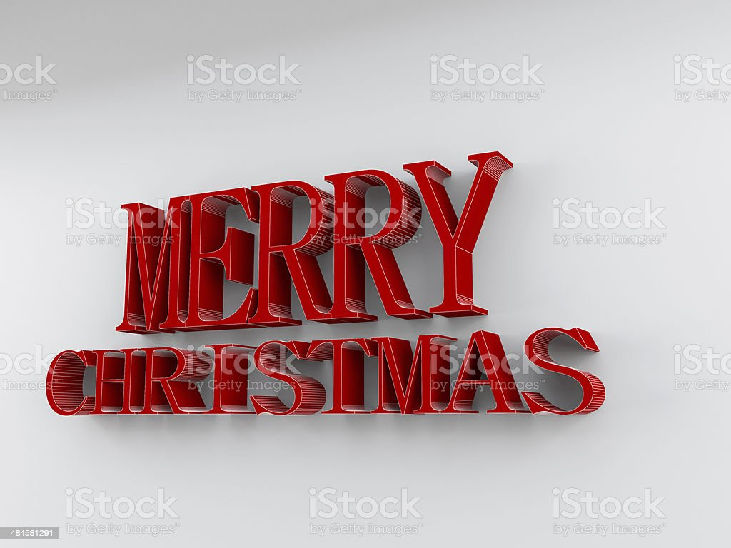 Merry Christmas in red rendered letters on a white background stock photo