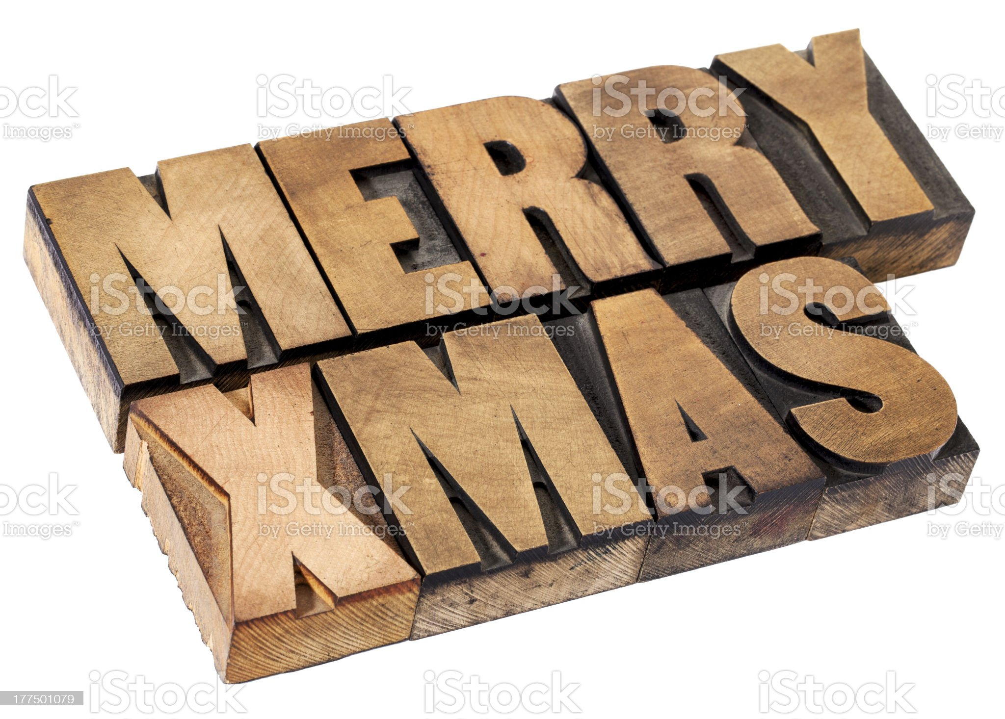 Merry Christmas in wood type royalty-free stock photo
