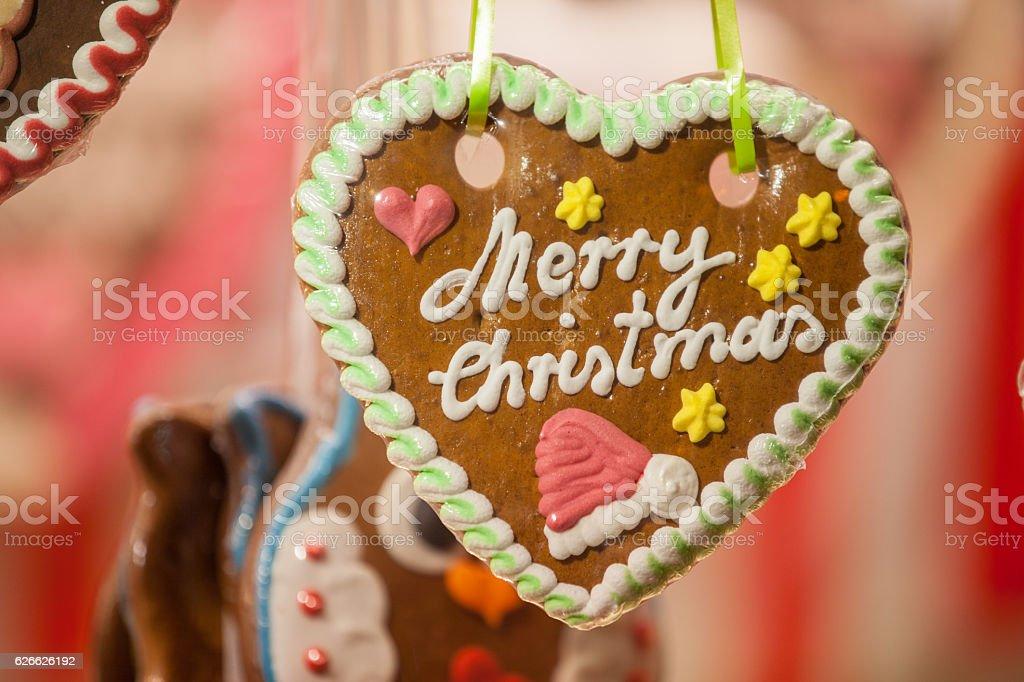 Merry Christmas Lebkuchenherz stock photo