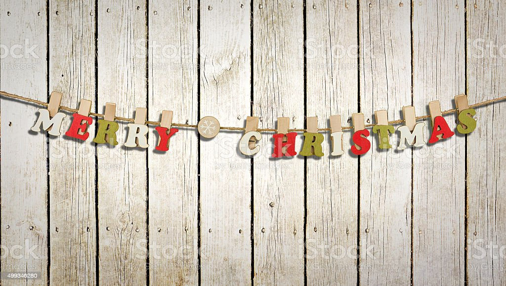 Merry christmas letters on a barn wall stock photo