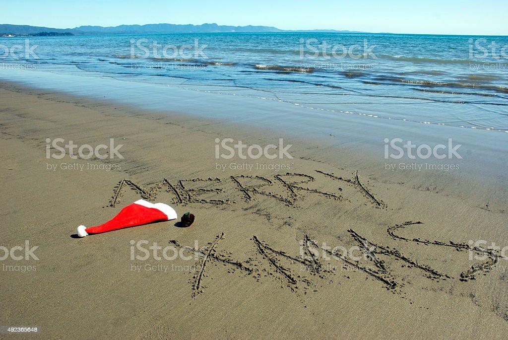 Merry Christmas on the Beach stock photo