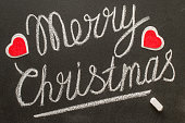 Merry Christmas text written on chalkboard.