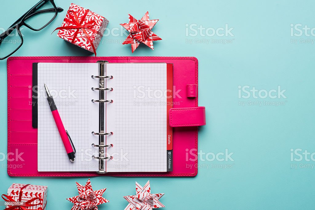 Merry Christmas top view scene composition template stock photo