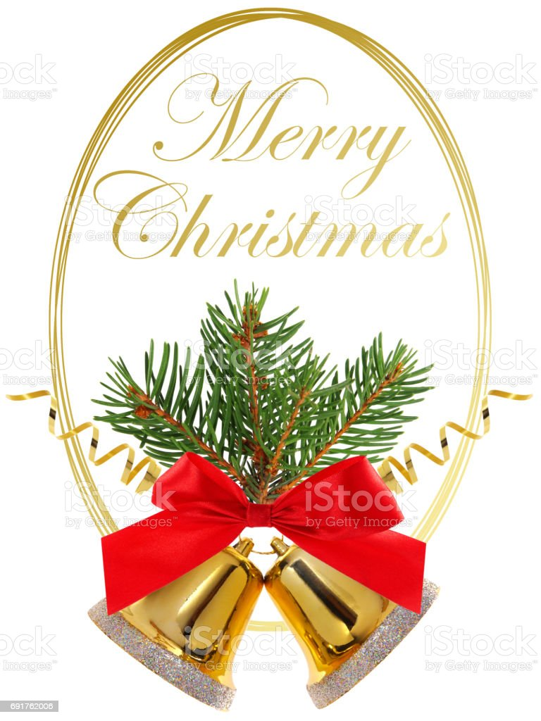 Merry Christmas with golden round frame and Christmas decoration - bells, ribbon, bow and fir twig stock photo