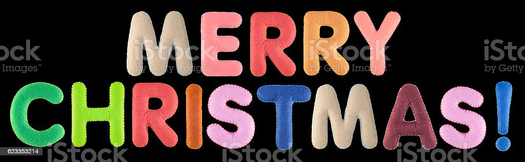 Merry christmas. Words isolated on black background. stock photo