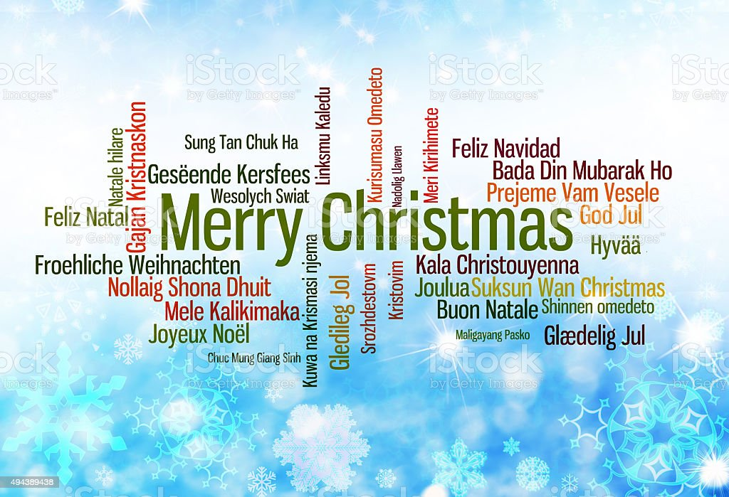 Merry Christmas written in many languages stock photo