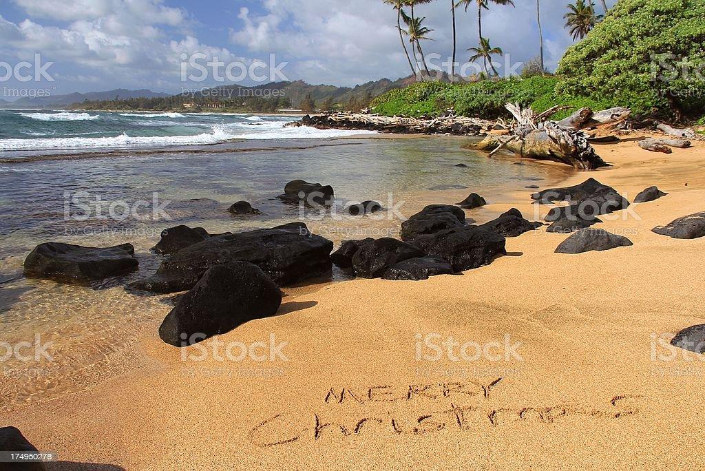 Merry Christmas Written On Kauai Hawaii Beach Sand stock photo ...
