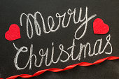 Merry Christmas written with chalk on a chalkboard