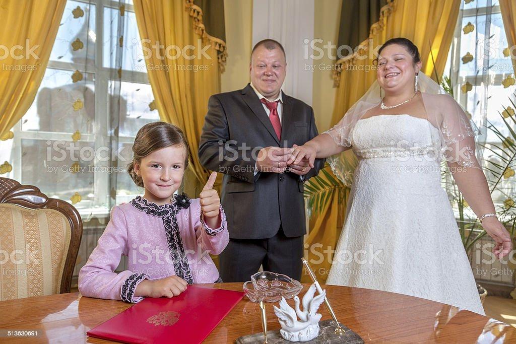 Merry civil wedding ceremony stock photo