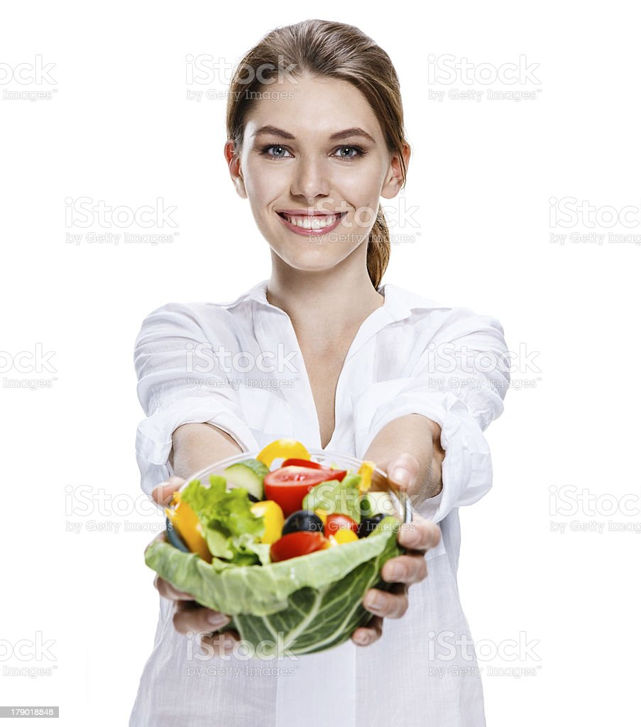 merry european woman & vegetable salad stock photo