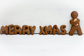 Merry Xmas Letters as Gingerbread Cookies