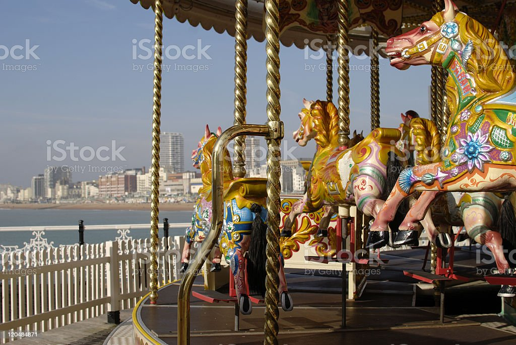 Merry-go-round at Brighton Pier in East Sussex, England stock photo