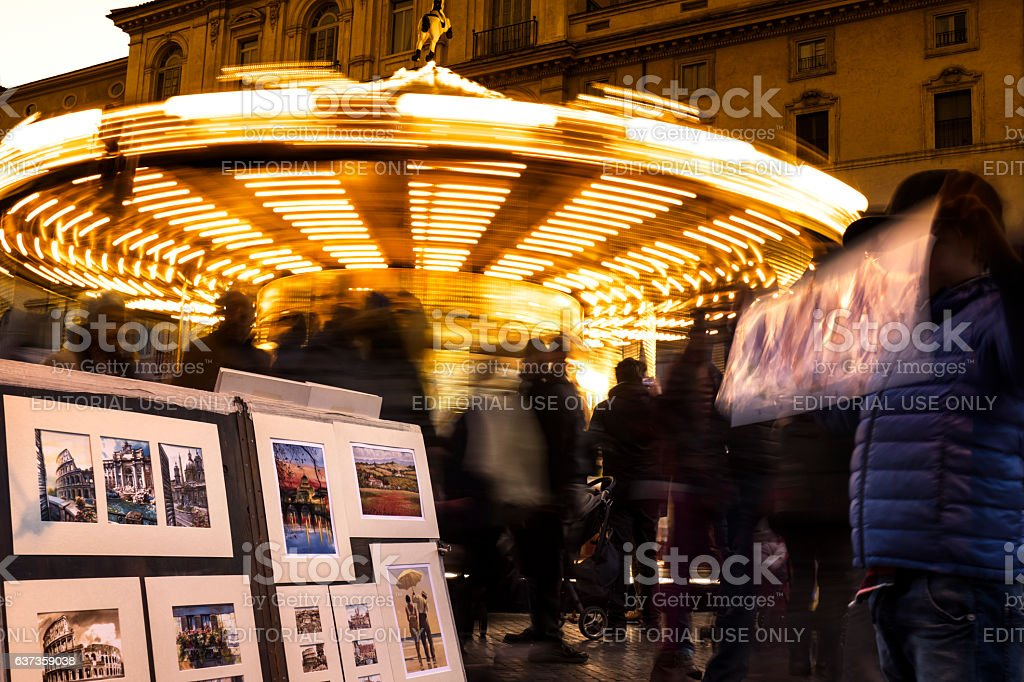 Merry-go-round at Piazza Navona in Rome stock photo