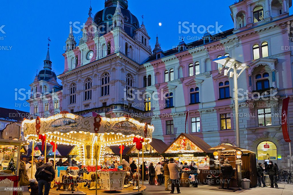 Merry-go-round, Graz stock photo