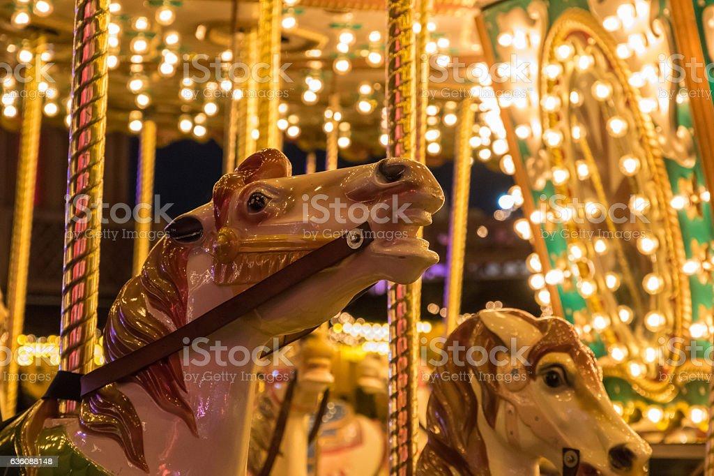 Merry-go-round in Winter Wonderland stock photo