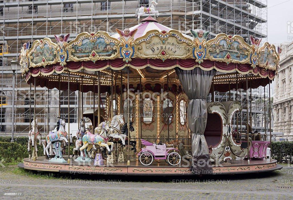 Merry-go-round; XVIII century carousel horses royalty-free stock photo