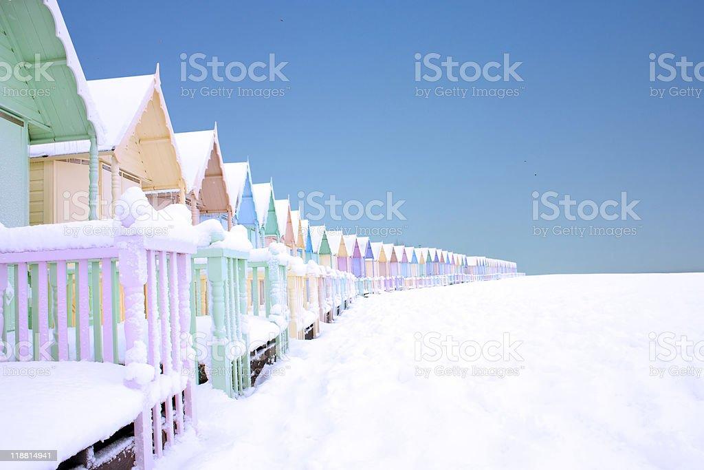 mersea in the snow stock photo