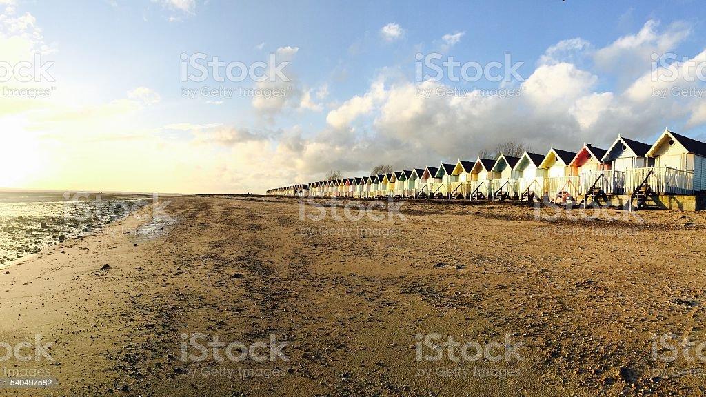 Mersea island beach huts stock photo