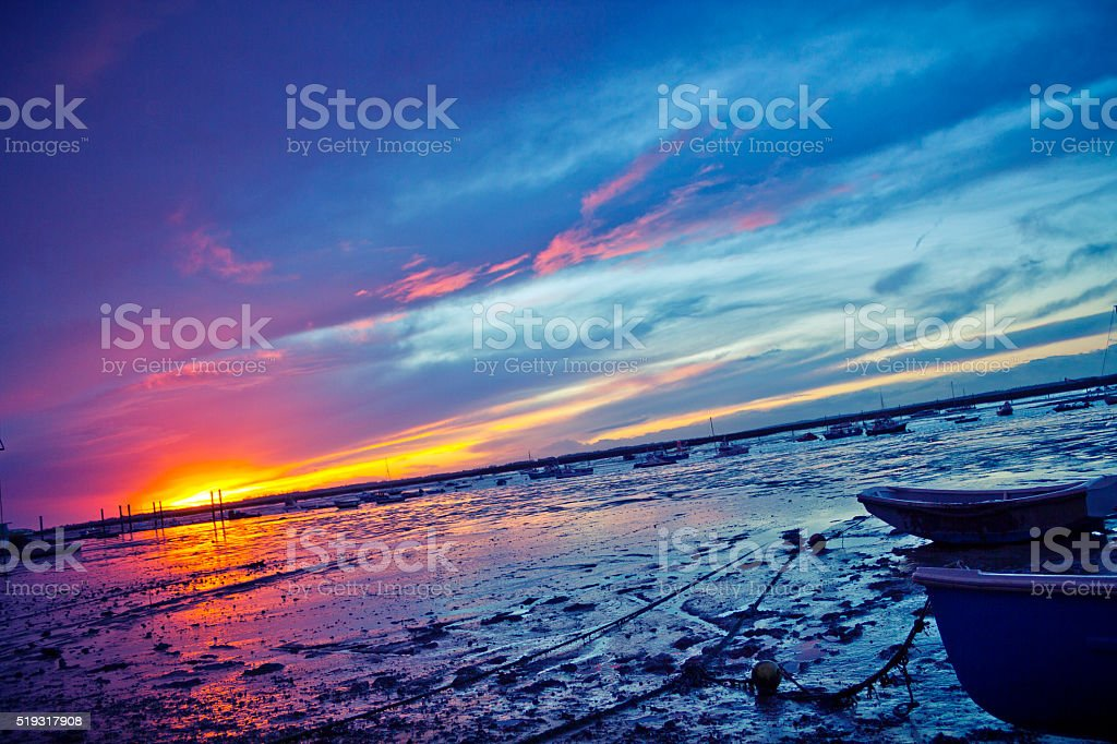 Mersey Island Sunset stock photo