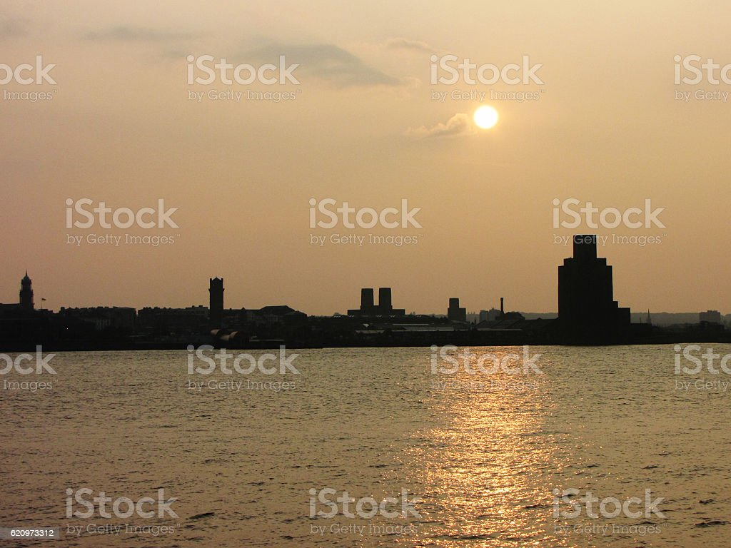 Mersey River Sunset - Liverpool stock photo