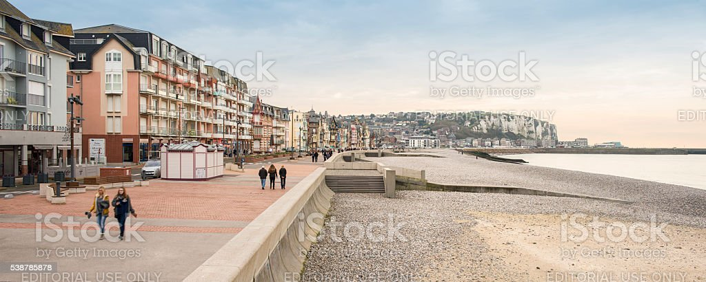 Mers-les-Bains city boardwalk during fall stock photo