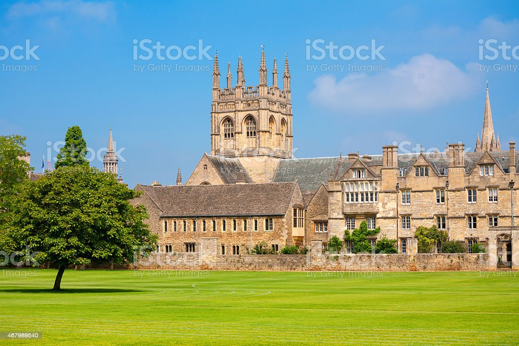 Merton College building in Oxford UK stock photo