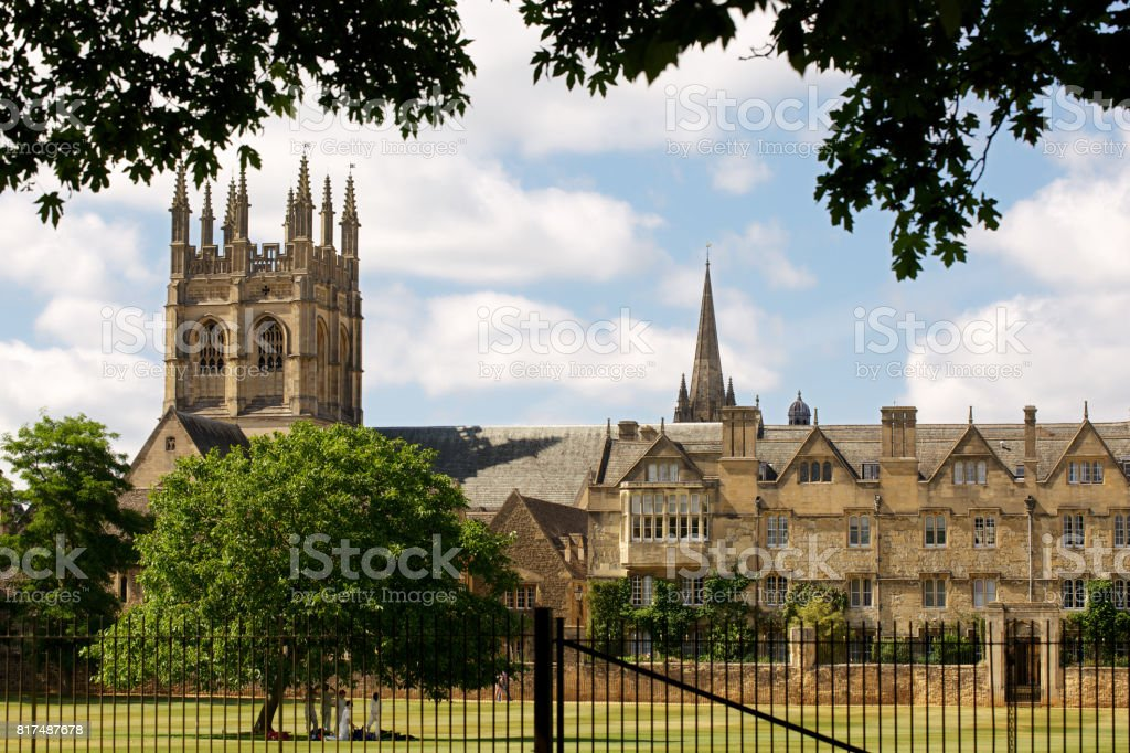 Merton College in Oxford with playground stock photo