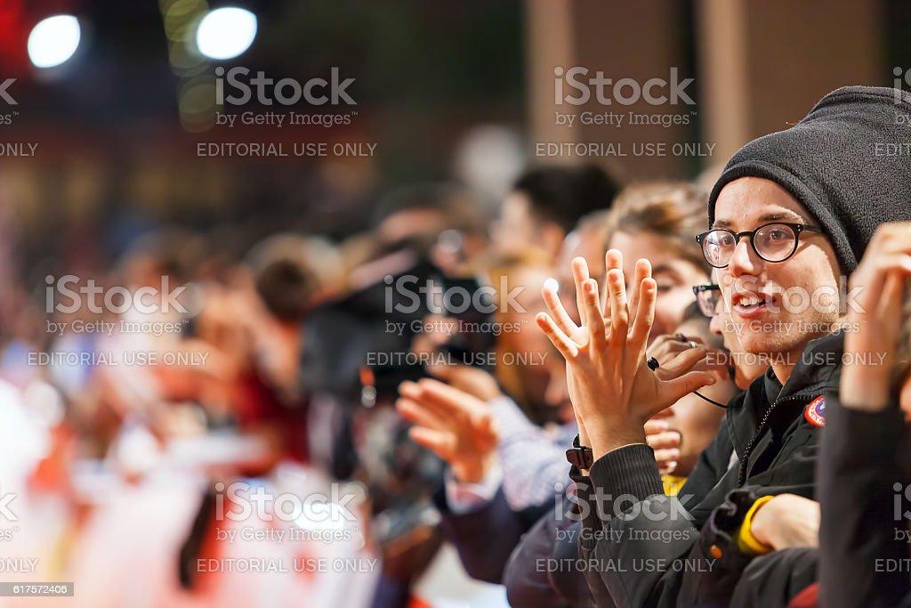 Meryl Streep fans on the red carpet stock photo
