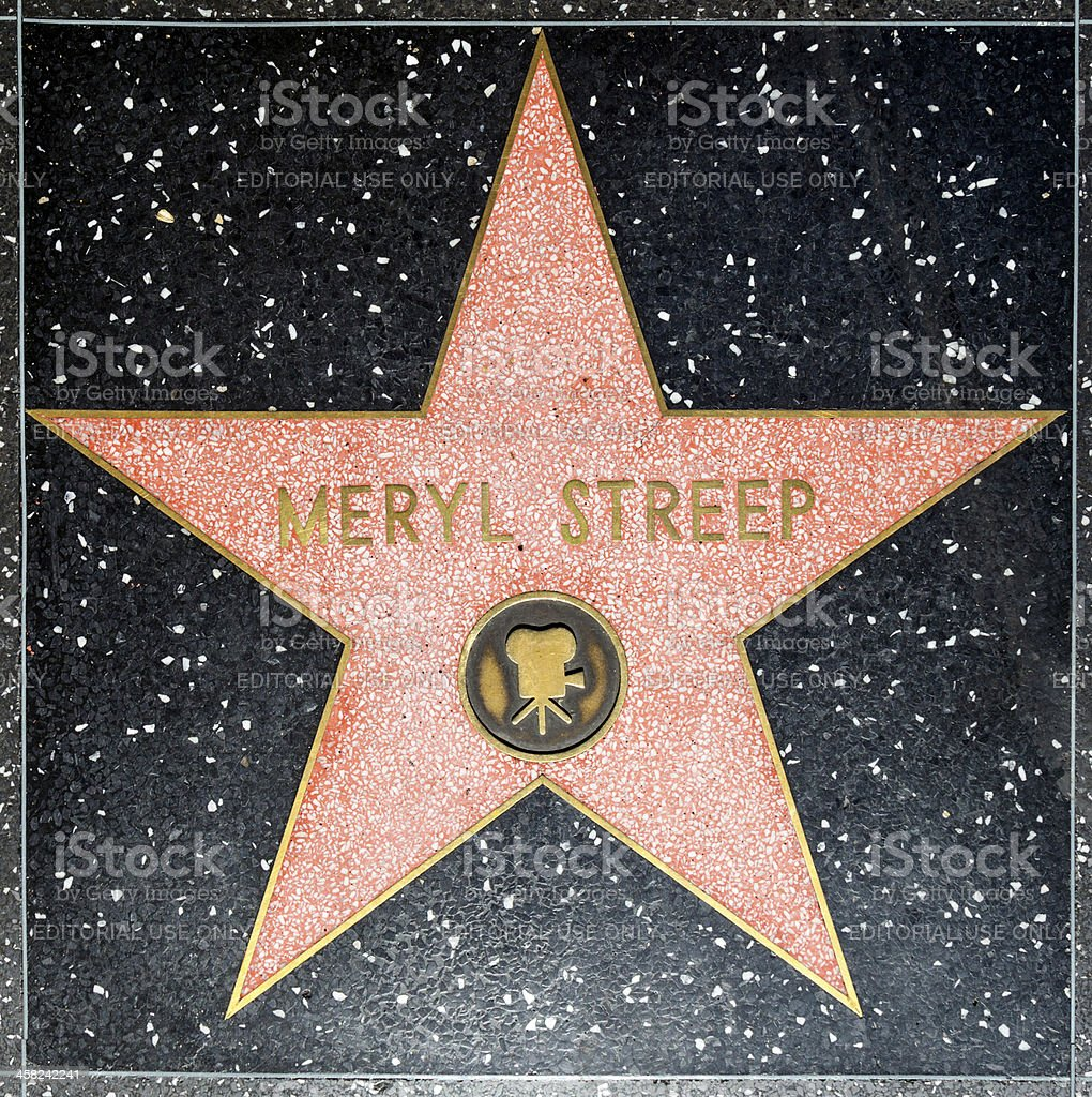 Meryl Streeps star on Hollywood Walk of Fame royalty-free stock photo