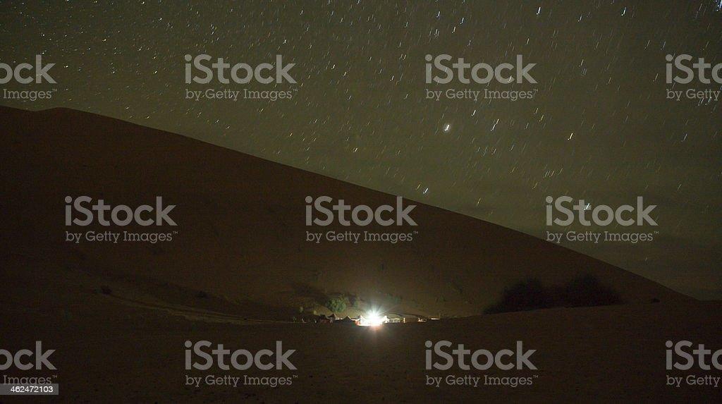 Merzouga lights stock photo