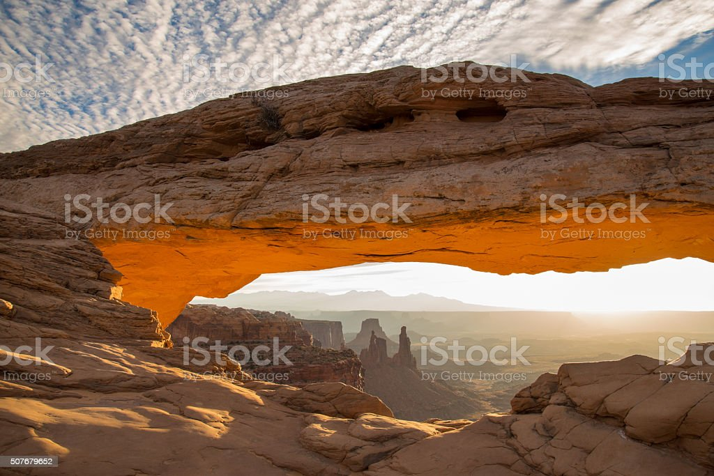 Mesa Arch Aglow in Morning Light stock photo