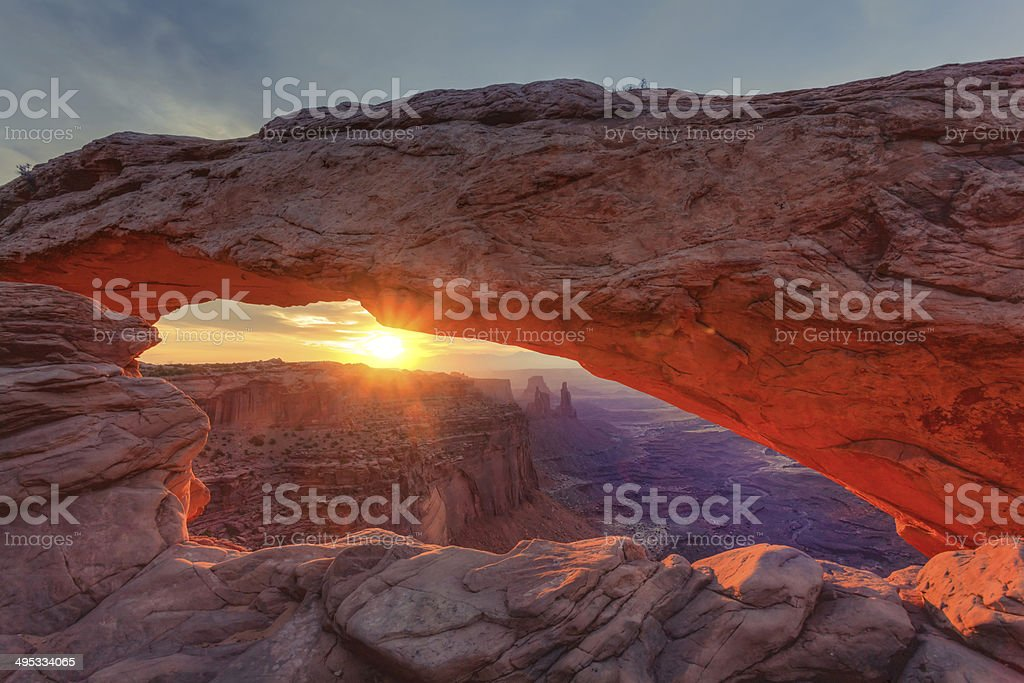Mesa Arch at Sunrise in Canyonlands National Park, USA stock photo