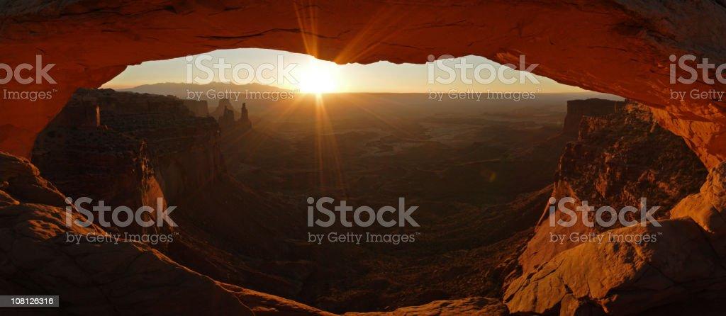 Mesa Arch at Sunrise - Panorama stock photo