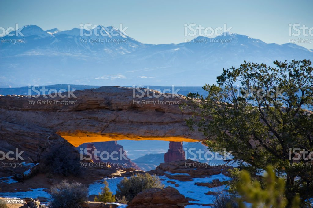 Mesa Arch Landscape in Canyonlands National Park, Moab, Utah stock photo