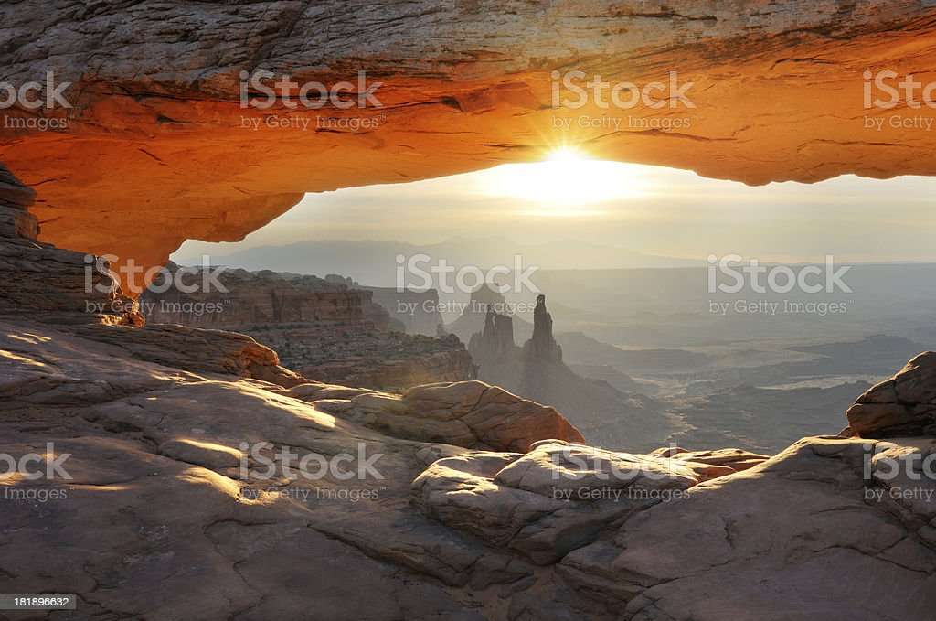 Mesa Arch sunrise landscape in Canyonlands National Park stock photo