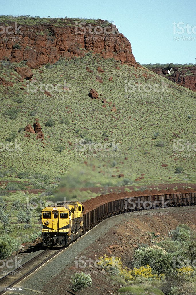 Mesa towers over trainload of iron ore stock photo