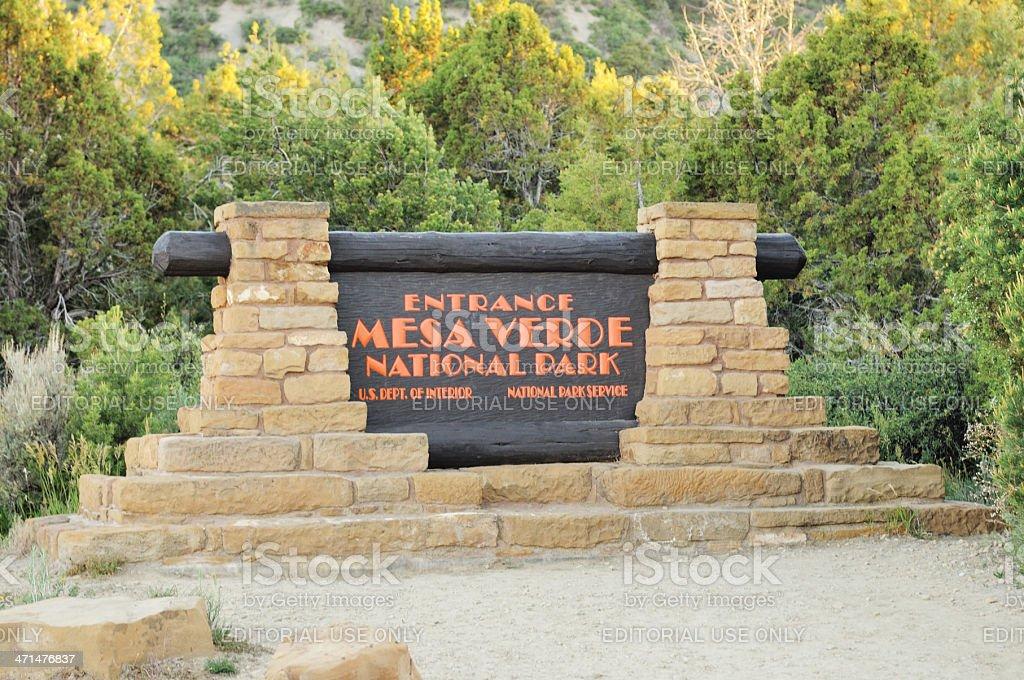 Mesa Verde National Park Entrance Sign Colorado USA stock photo